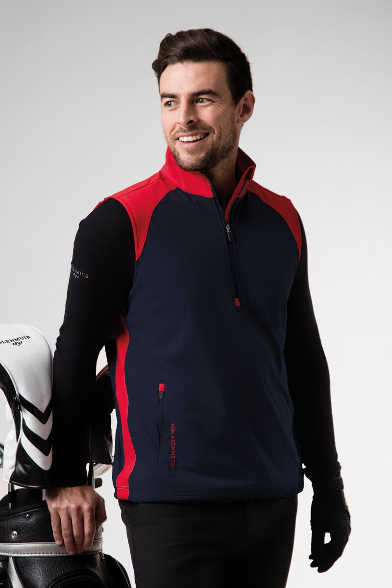 Mens Zip Neck Showerproof Performance Golf Wind Gilet