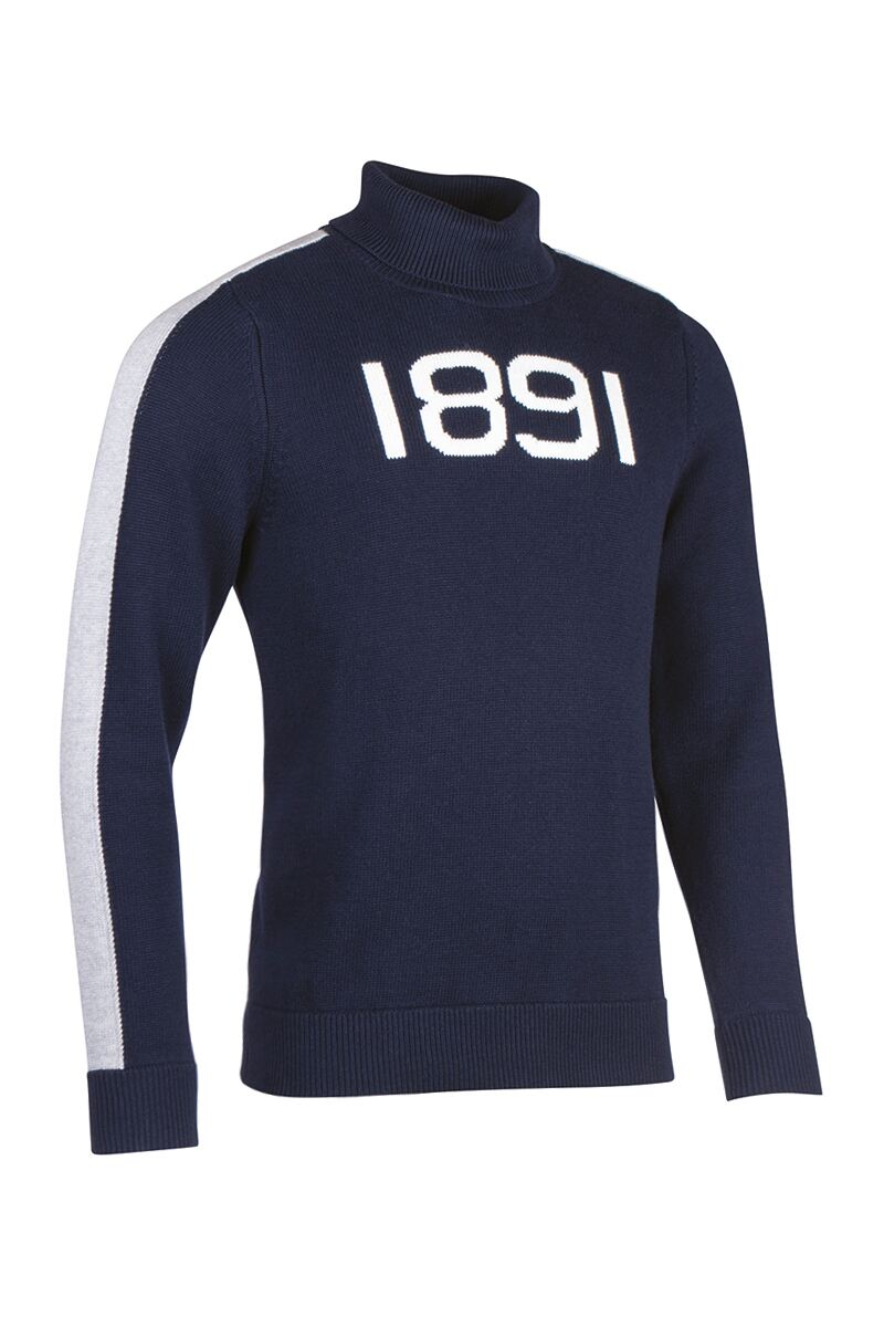 Mens and Ladies Roll Neck Shoulder and Sleeve Stripe Touch of Cashmere 1891 Heritage Sweater
