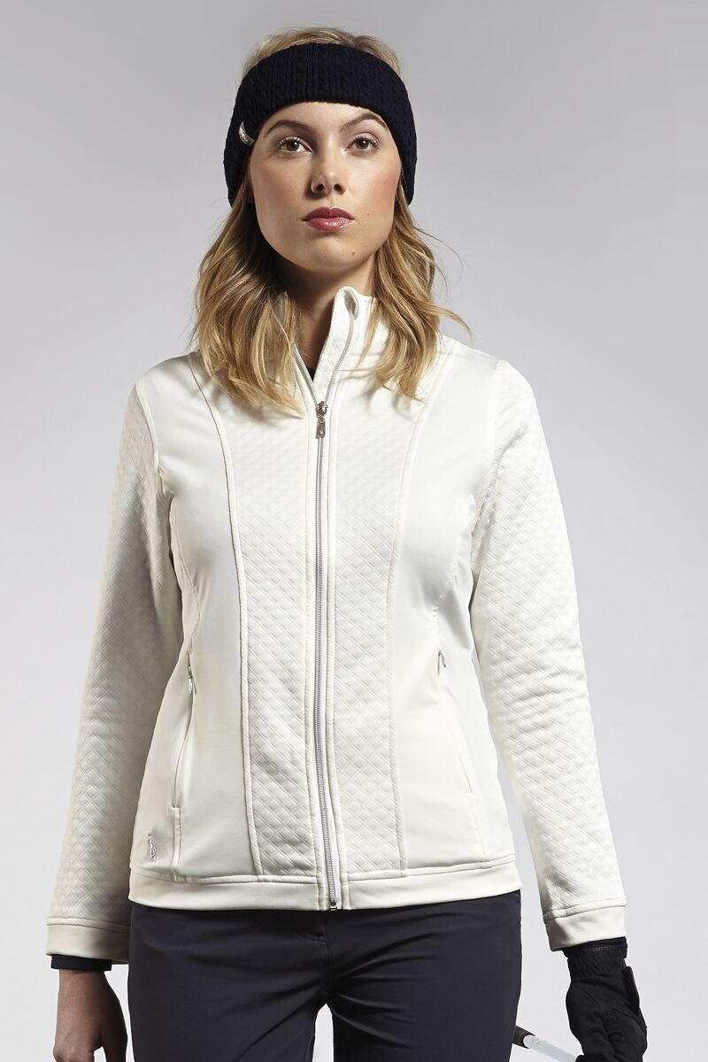 Ladies Zip Front Embossed Diamond Performance Golf Midlayer - Sale