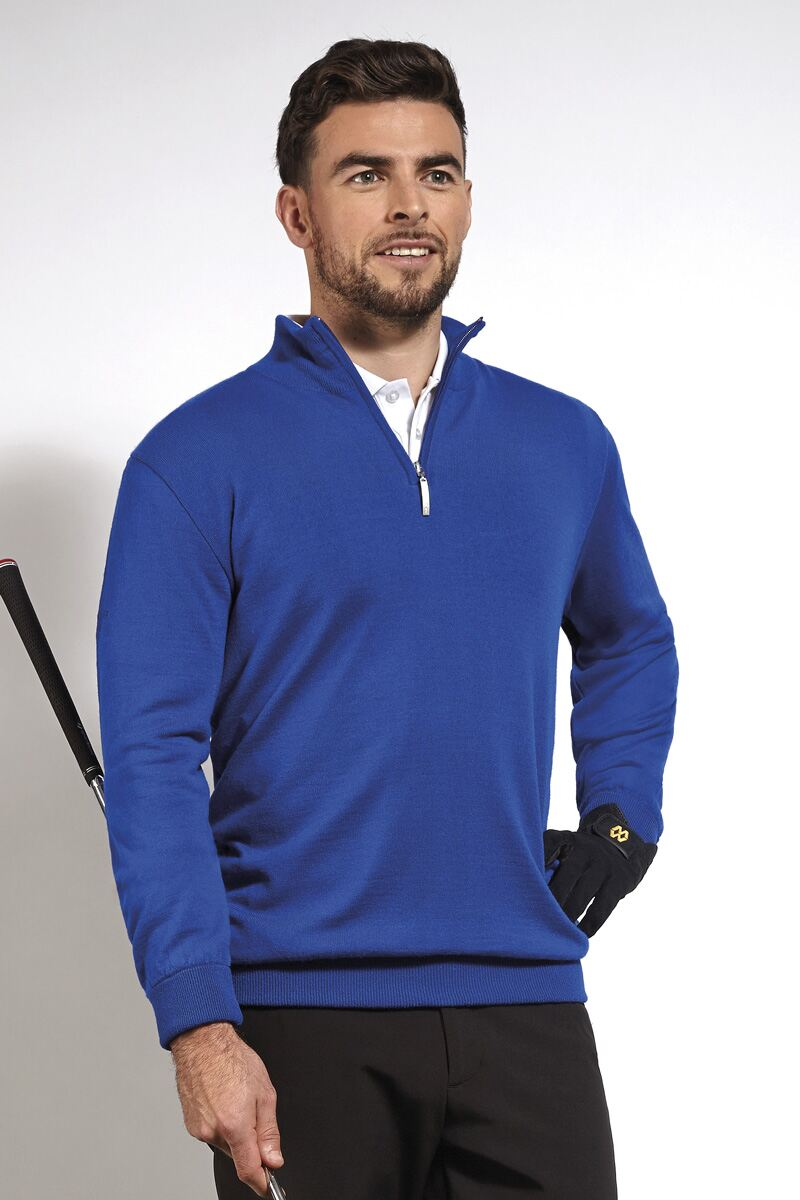 Mens Zip Neck Water Repellent Lightweight Lined Merino Blend Golf Sweater