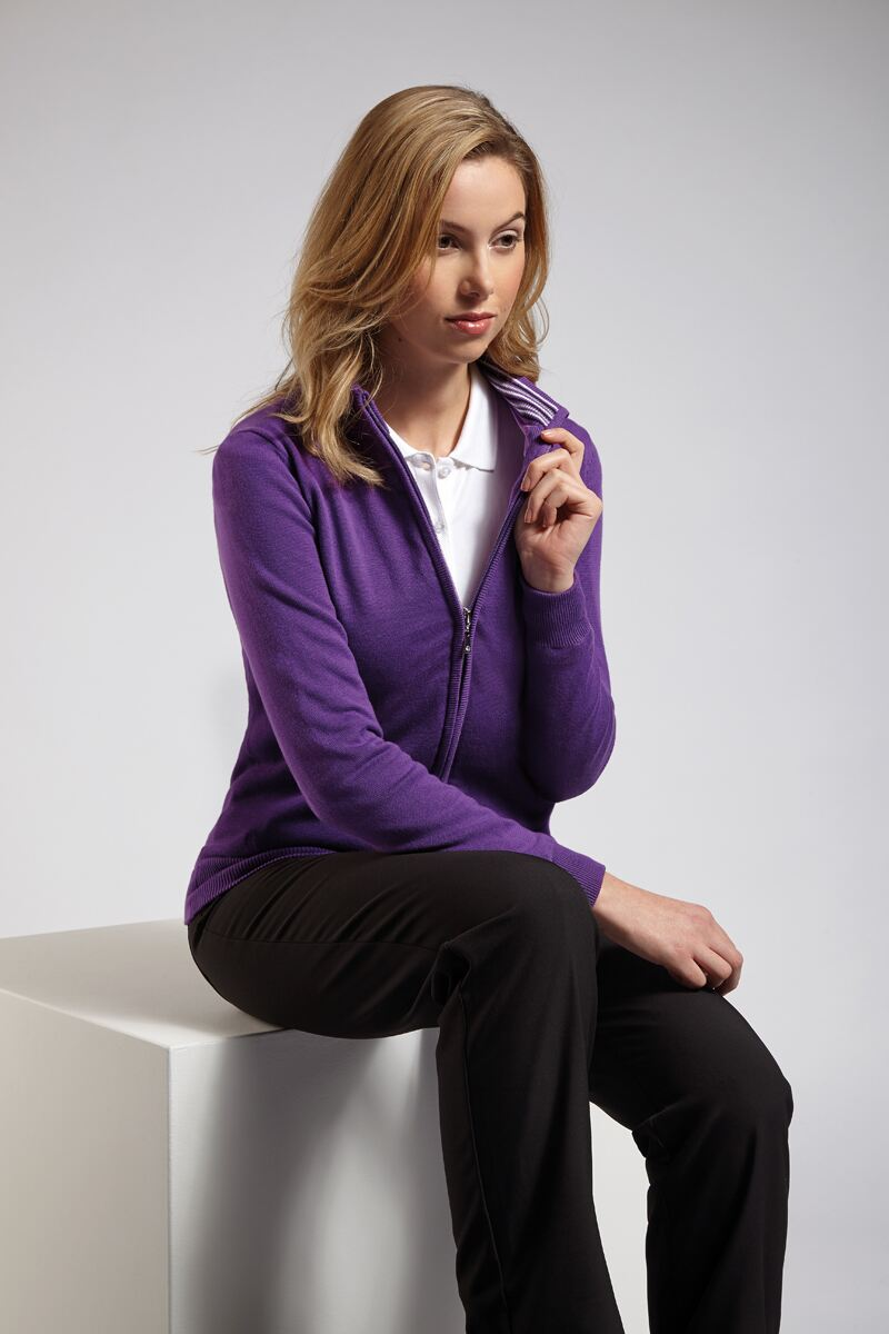 Ladies Cotton Stripe Collar Lined Zip Front Cardigan - Sale