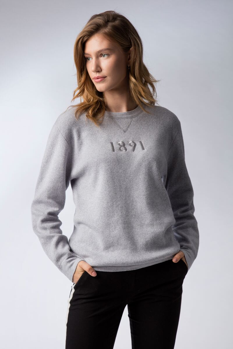 Mens and Ladies Crew Neck V Insert Touch of Cashmere 1891 Chest Heritage Luxury Sweatshirt