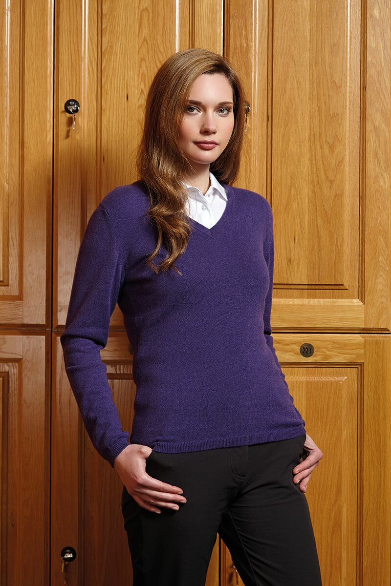 Ladies V Neck Cashmere Golf Sweater Product Image 1
