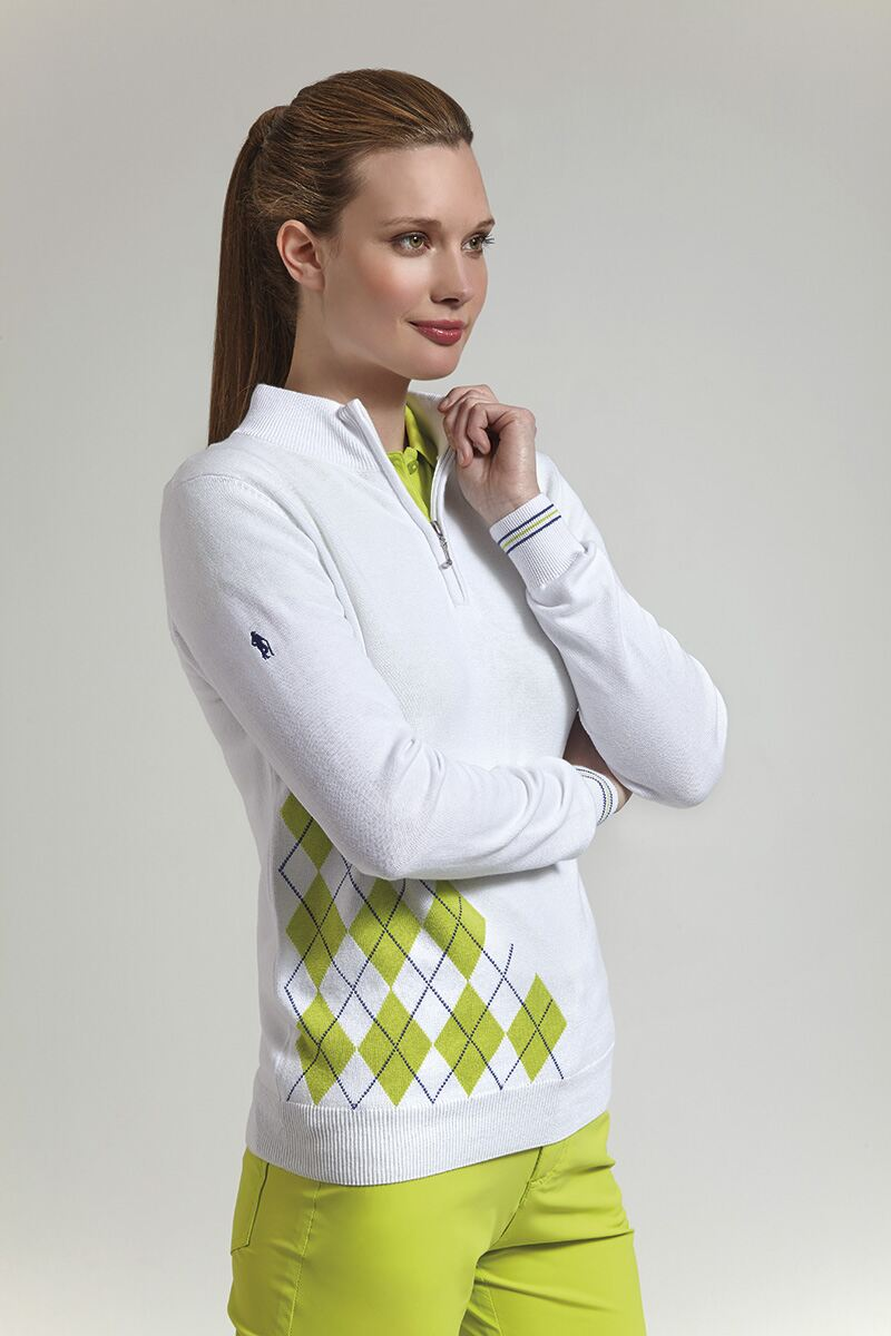 Ladies Zip Neck Offset Diamond Golf Sweater - Sale Product Image 1