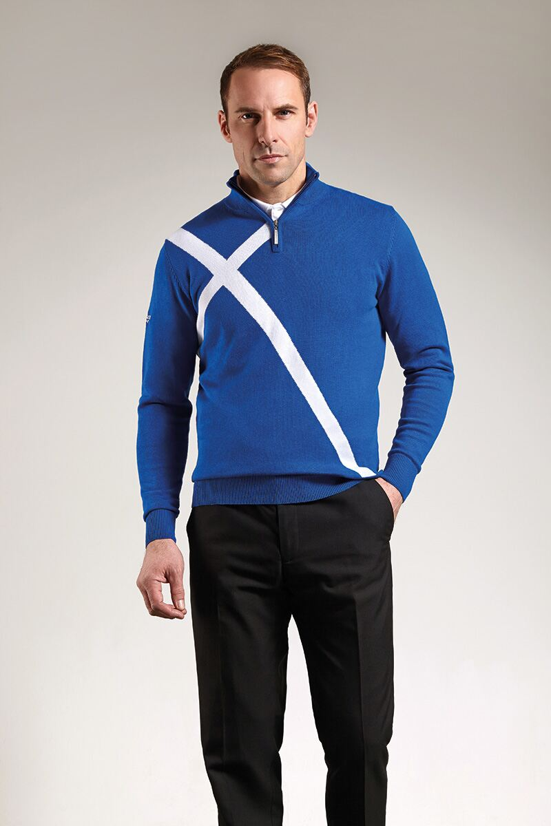 Mens Zip Neck Saltire Cross Cotton Golf Sweater Product Image 2