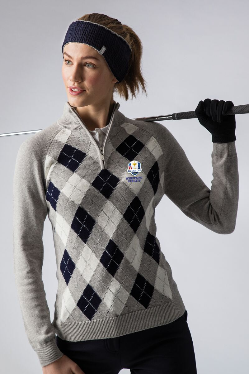 Official Ryder Cup 2020 Ladies Zip Neck Argyle Lurex Touch of Cashmere Golf Sweater