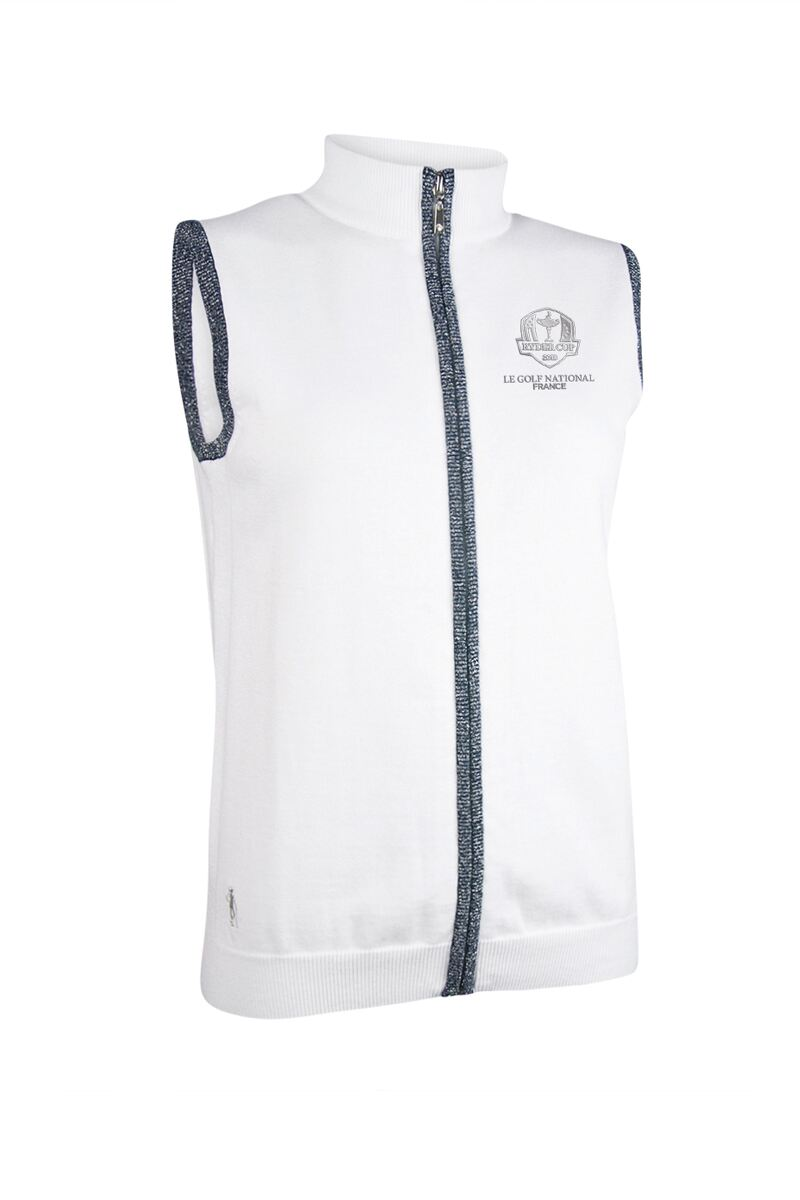 Official Ryder Cup 2018 Ladies Zip Front Lurex Back Stripe Cotton Golf Gilet Product Swatch