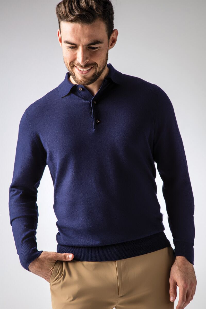 Mens Collared Touch of Cashmere Golf Sweater Product Image 1