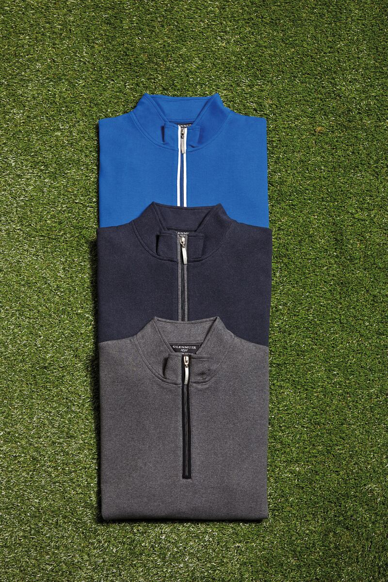 Mens Zip Neck Rib Side Panel Cotton Golf Midlayer Product Image 2