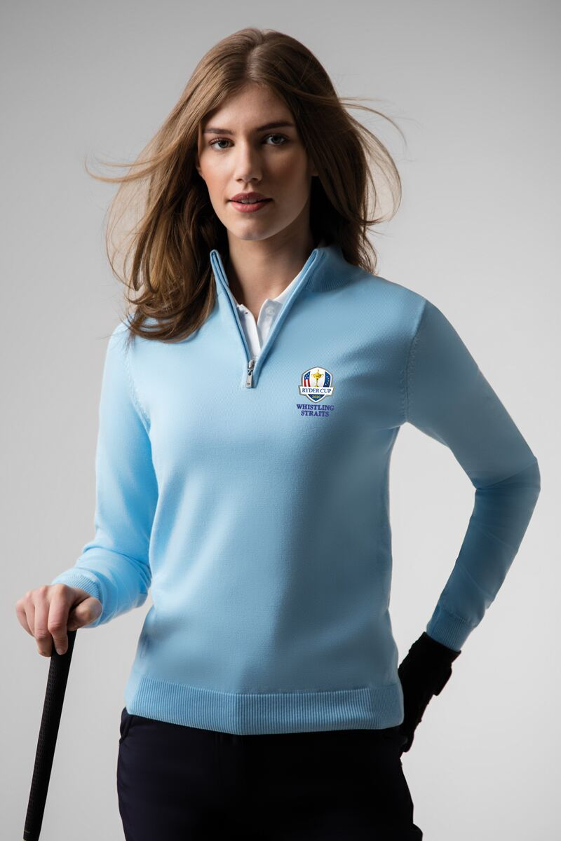 Official Ryder Cup 2020 Ladies Zip Neck Cotton Golf Sweater