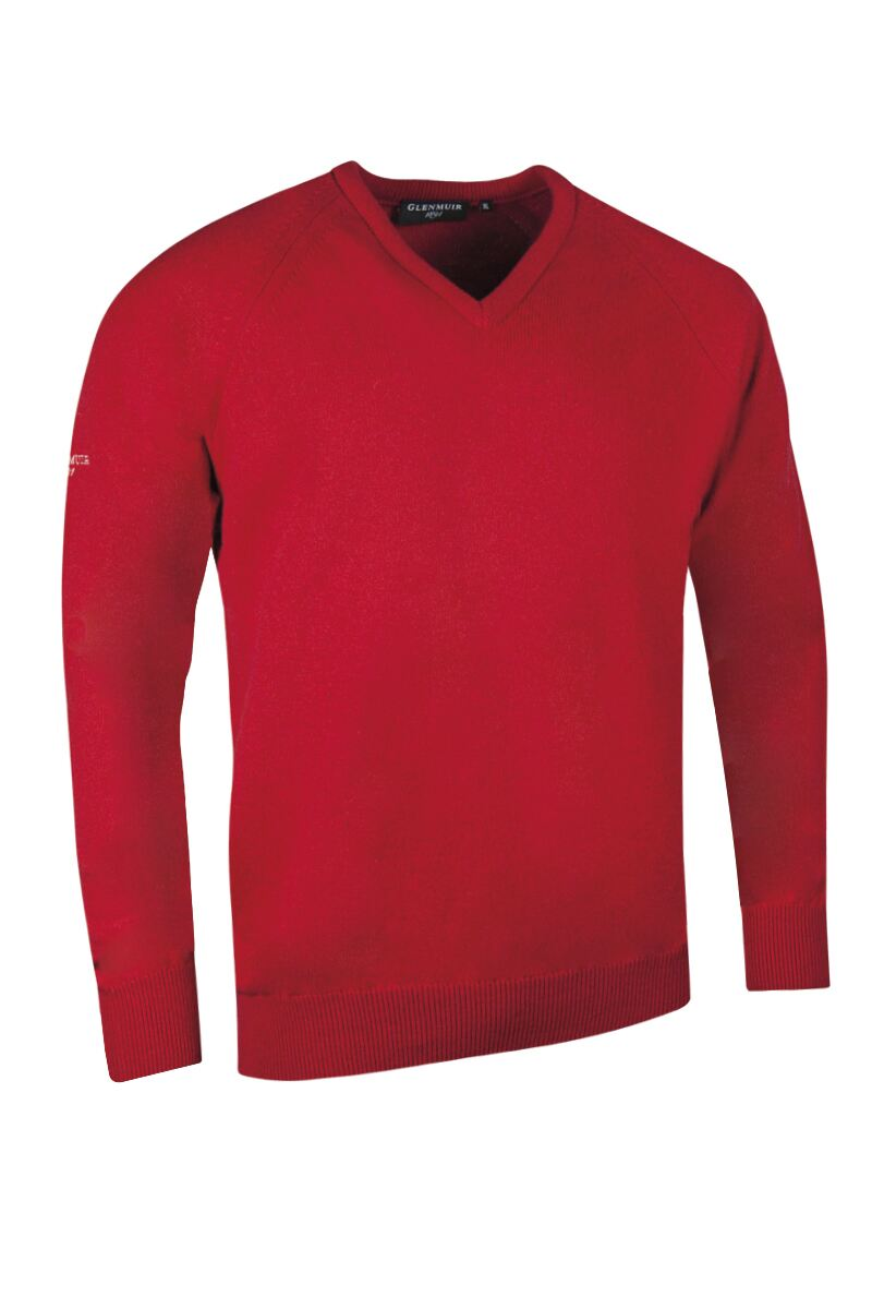 Mens V Neck Raglan Sleeve Lambswool Blend Golf Sweater Product Swatch