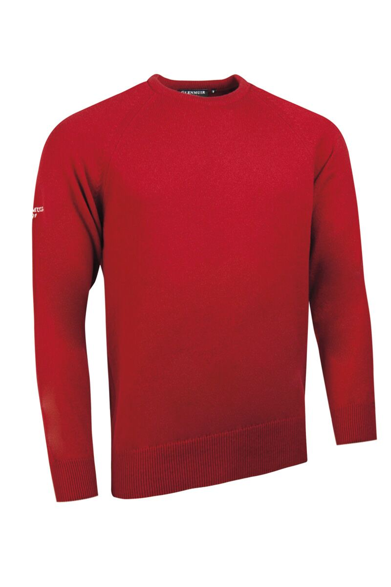 Mens Crew Neck Raglan Sleeve Lambswool Blend Golf Sweater Product Swatch