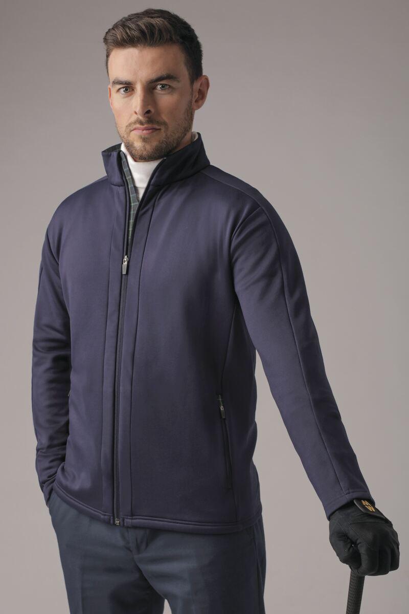 Mens Zip Front Tartan Trim Detail Performance Fleece Golf Jacket - Sale