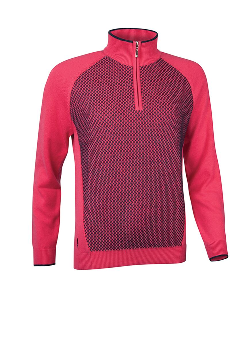 Official Ryder Cup 2018 Ladies Zip Neck Reverse Birdseye Touch of Cashmere Golf Sweater Product Swatch