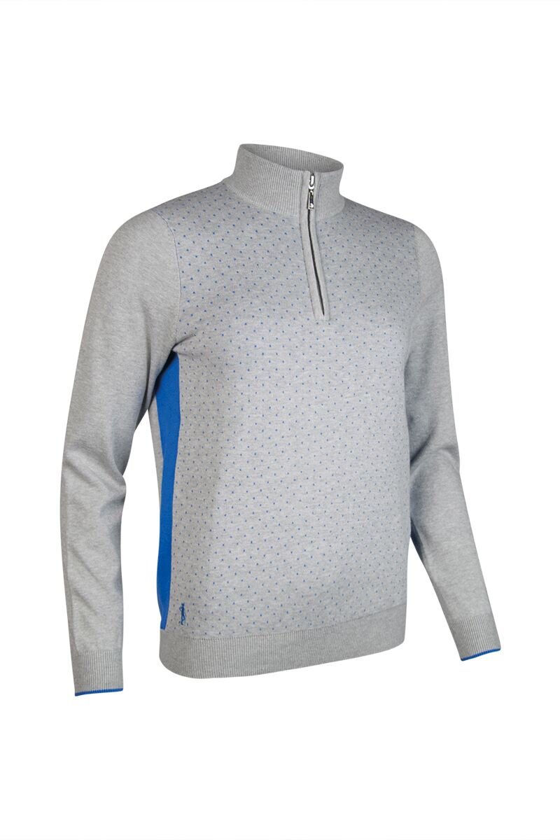 Ladies Zip Neck Birdseye Polka Dot Cotton Golf Sweater - Sale Product Image 3