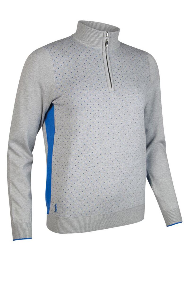Ladies Zip Neck Birdseye Polka Dot Cotton Golf Sweater - Sale Product Swatch