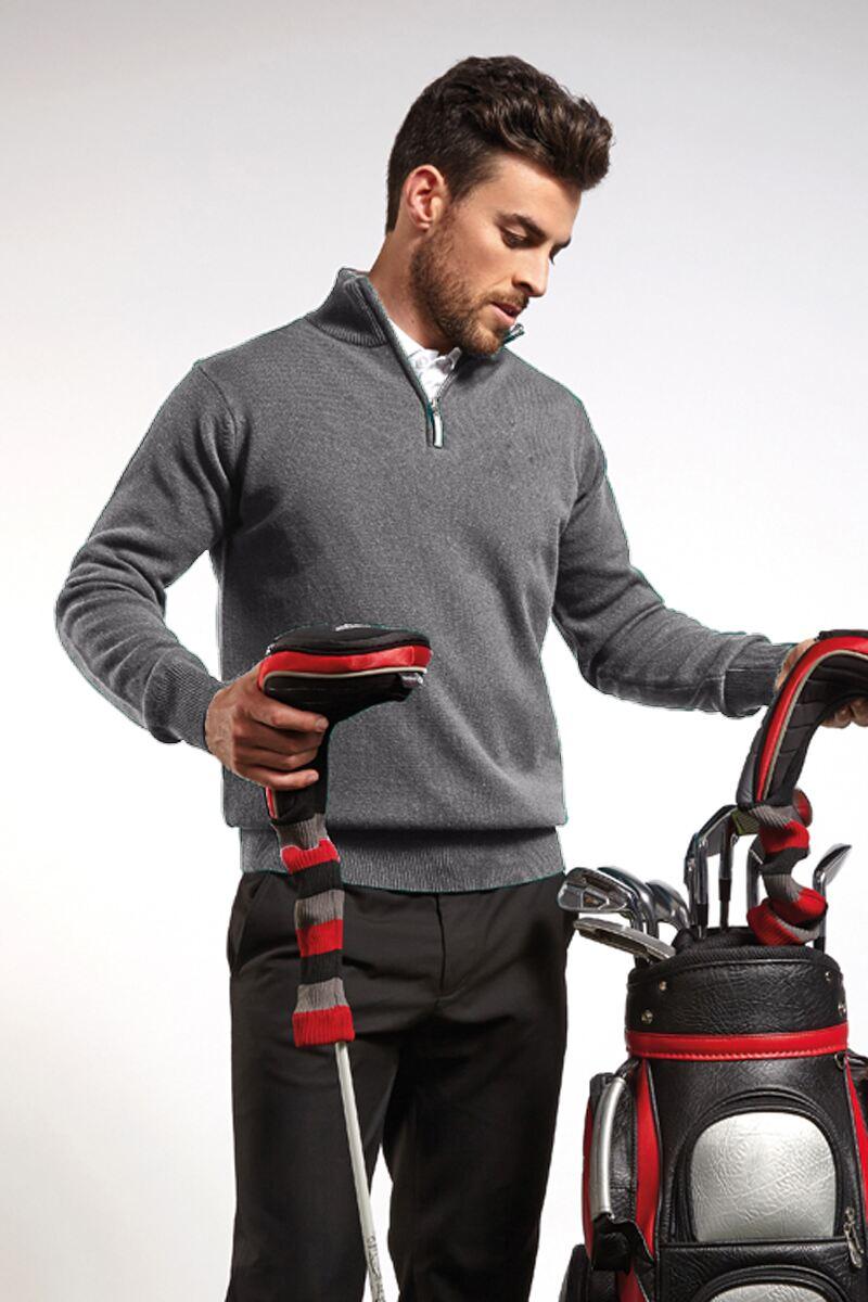 Mens Zip Neck Lambswool Golf Sweater - Sale