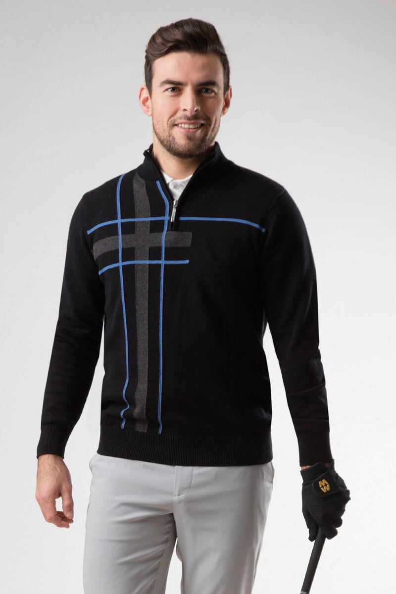 Mens Zip Neck Abstract Tartan Touch of Cashmere Golf Sweater Product Image 1
