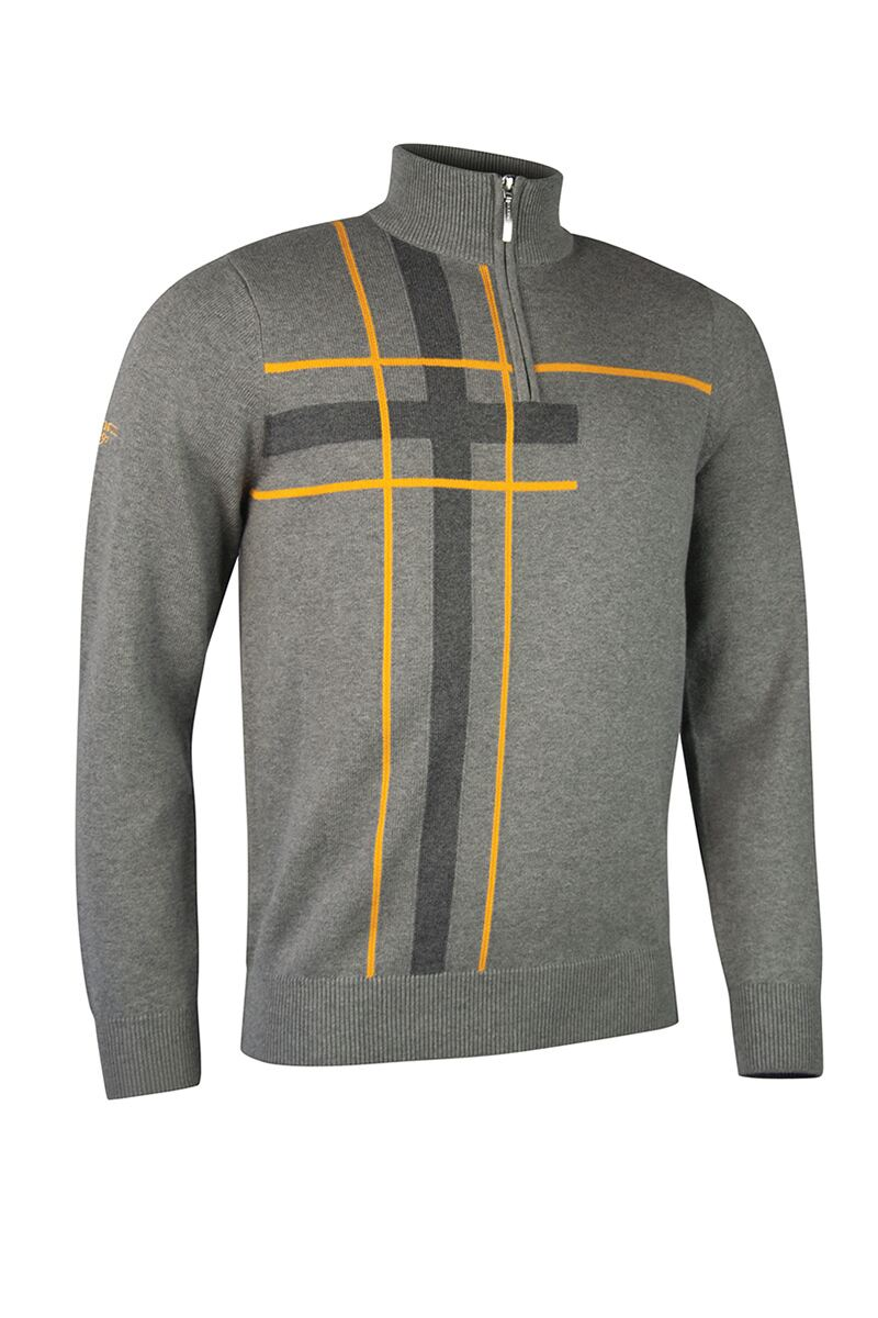 Mens Zip Neck Abstract Tartan Touch of Cashmere Golf Sweater Product Swatch