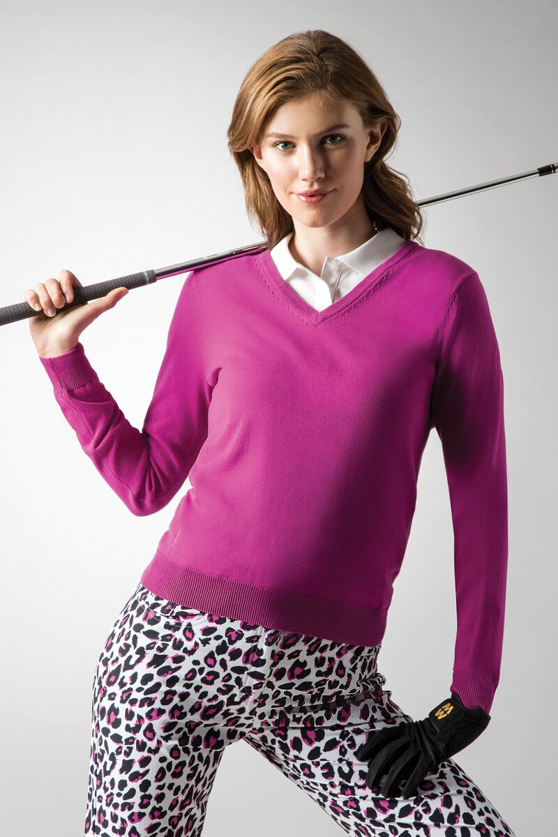 Ladies V Neck Cotton Golf Sweater Product Image 1