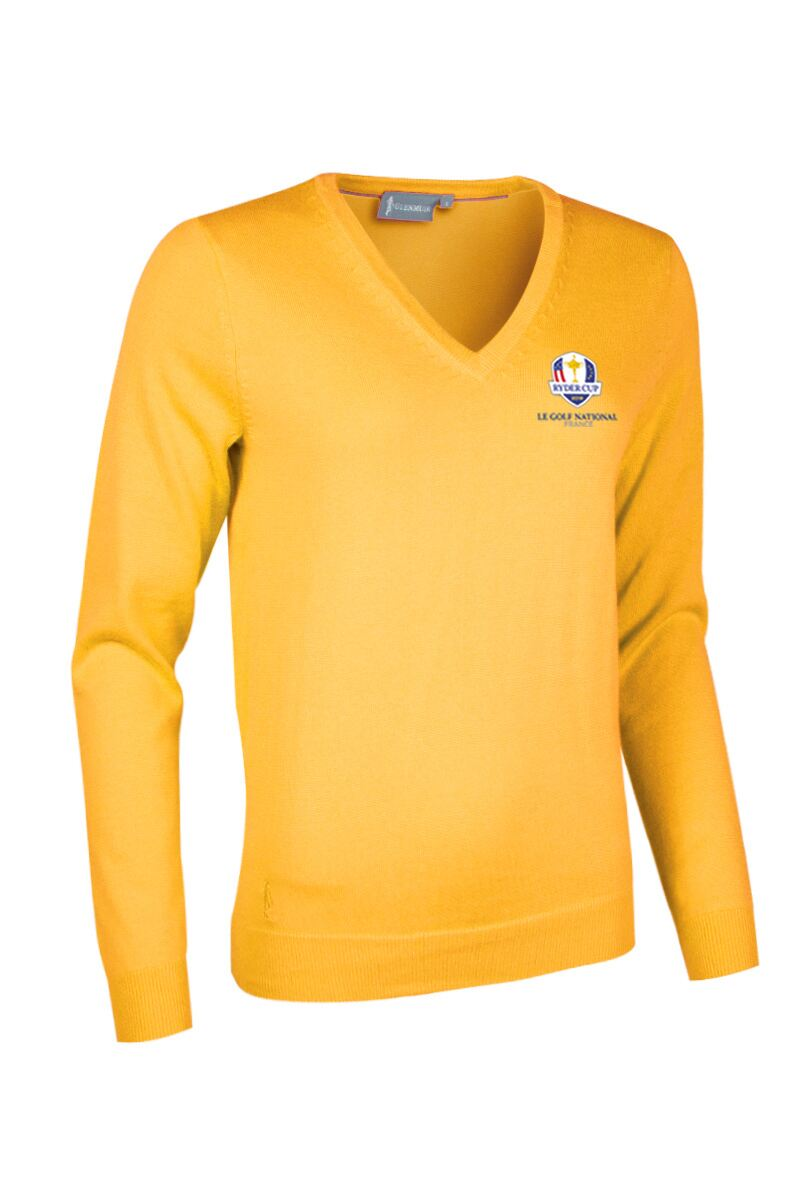Official Ryder Cup 2018 Ladies V Neck Cotton Golf Sweater Product Swatch
