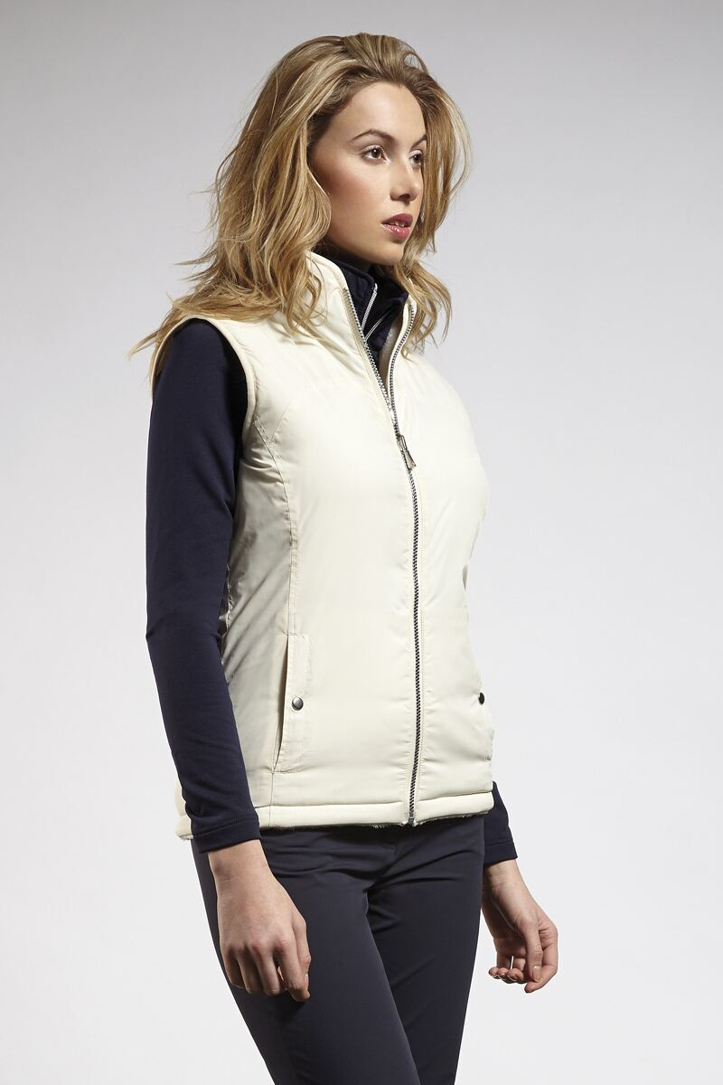 Ladies Zip Through Reversible Fleece Lined Quilted Gilet - Sale