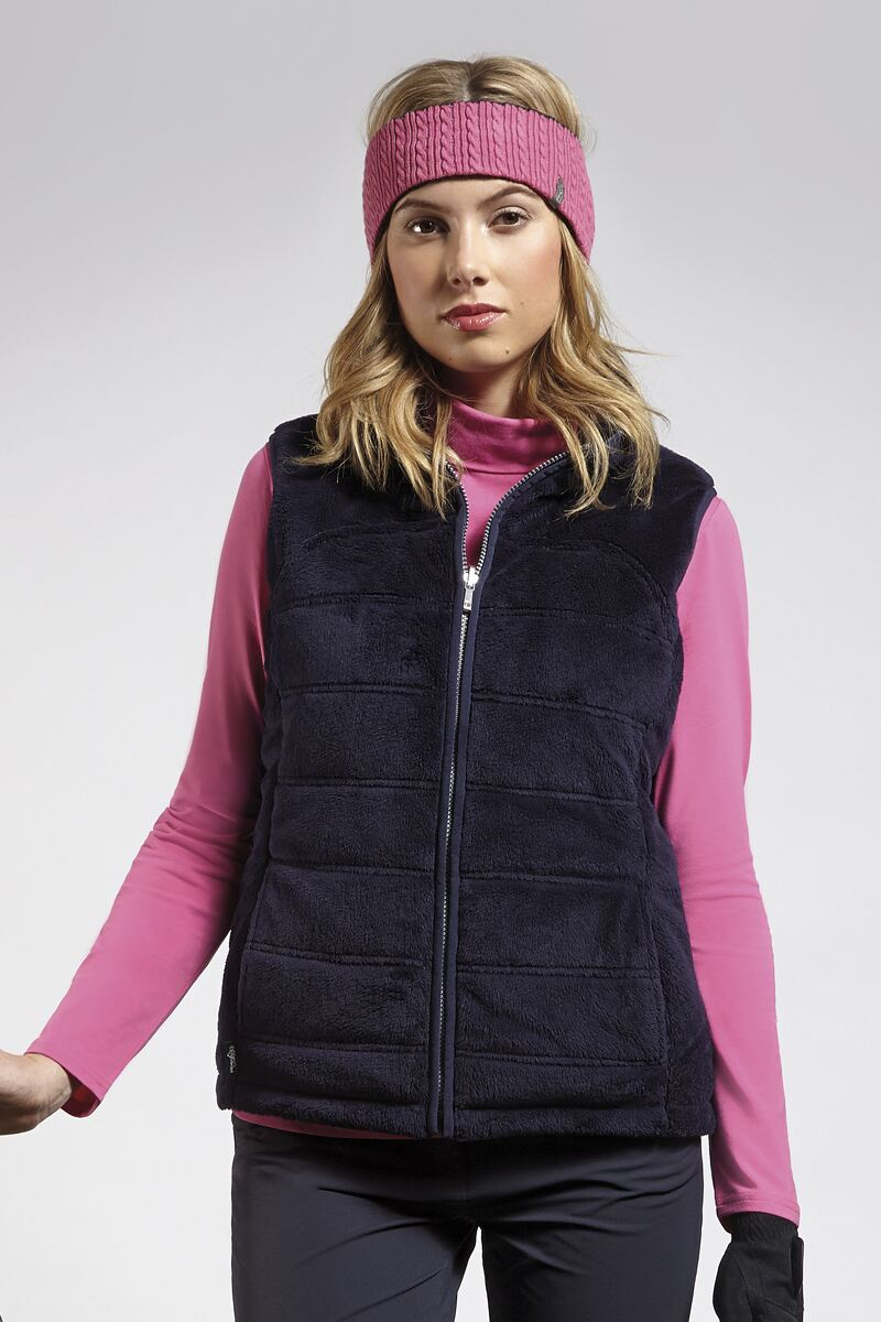Ladies Zip Through Reversible Fleece Lined Quilted Gilet - Sale Product Image 2