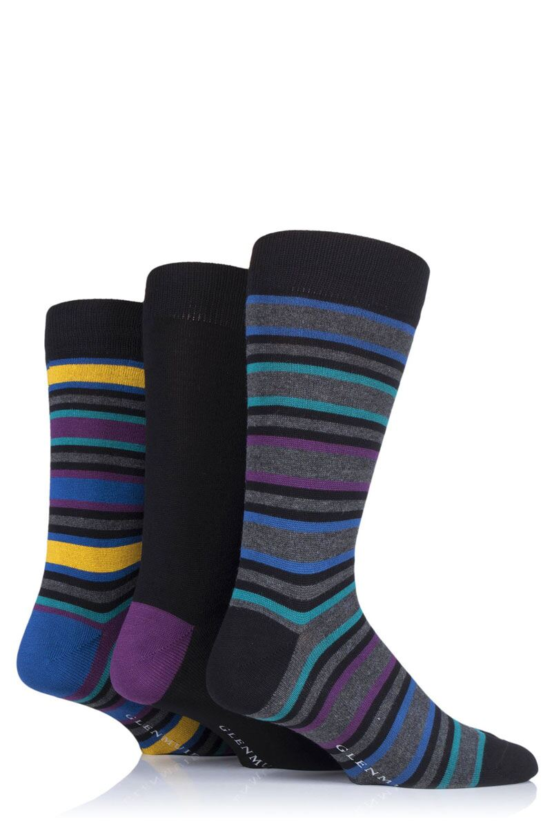 Mens 3 Pair Stripes Bamboo Socks Product Swatch