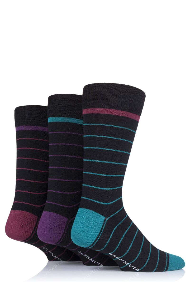 Mens 3 Pair Fine Stripes Bamboo Socks Product Swatch