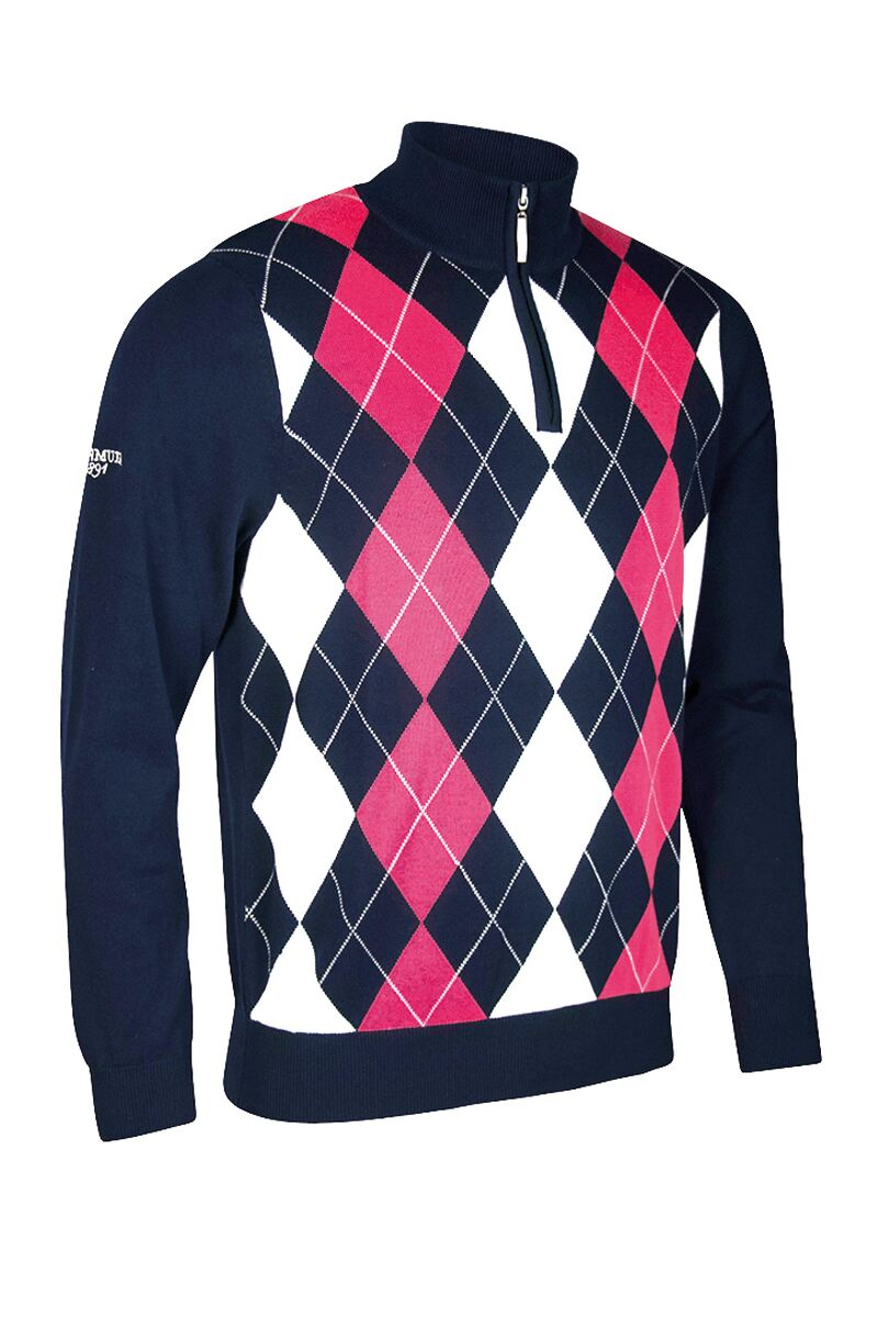 Official Ryder Cup 2018 Zip Neck Diamond Intarsia Cotton Golf Sweater Product Swatch