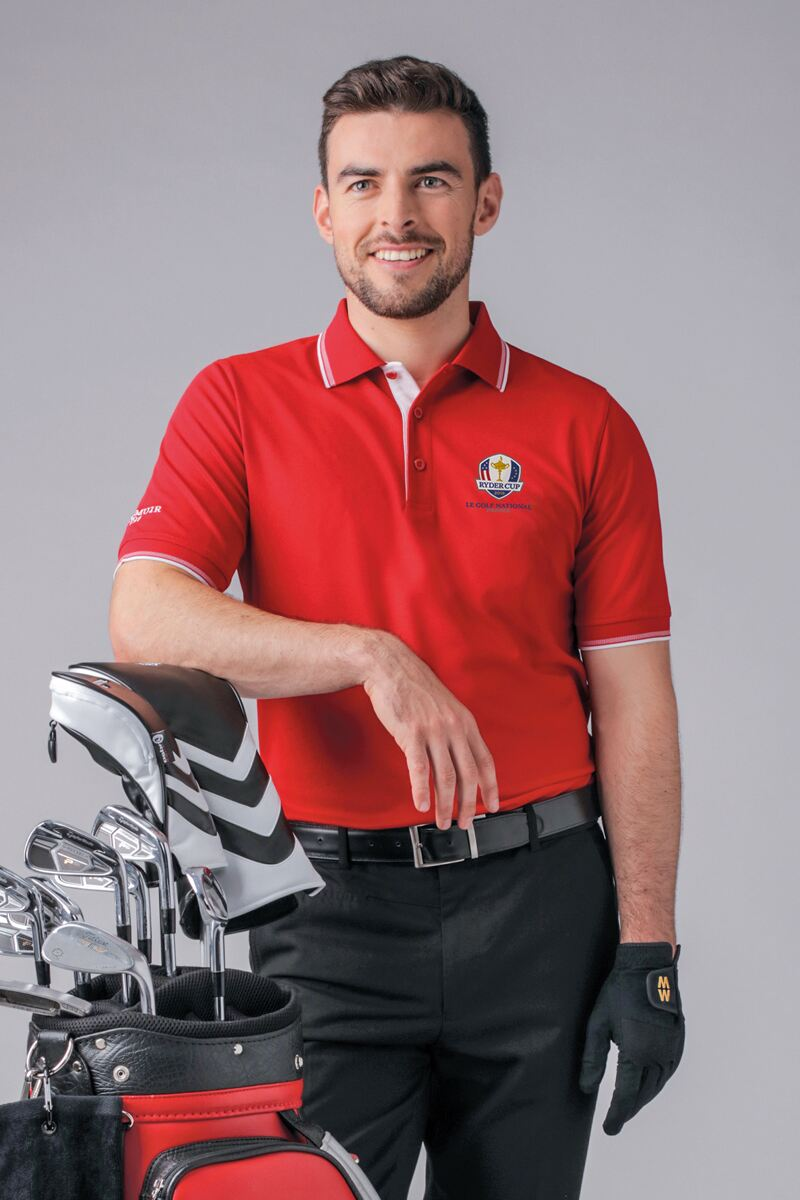 Official Ryder Cup 2018 Mens Herringbone Tipped Performance Pique Polo Shirt