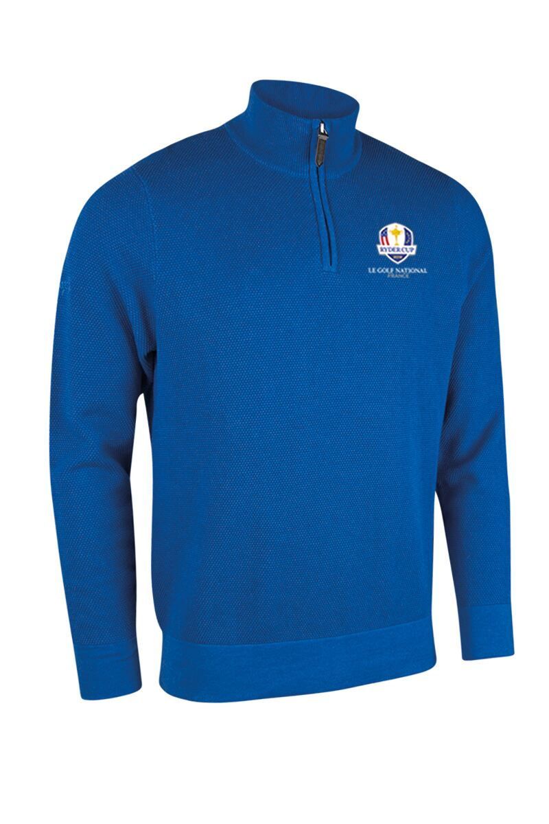 Official Ryder Cup 2018 Mens Zip Neck Textured Suede Placket Cotton Golf Sweater Product Swatch