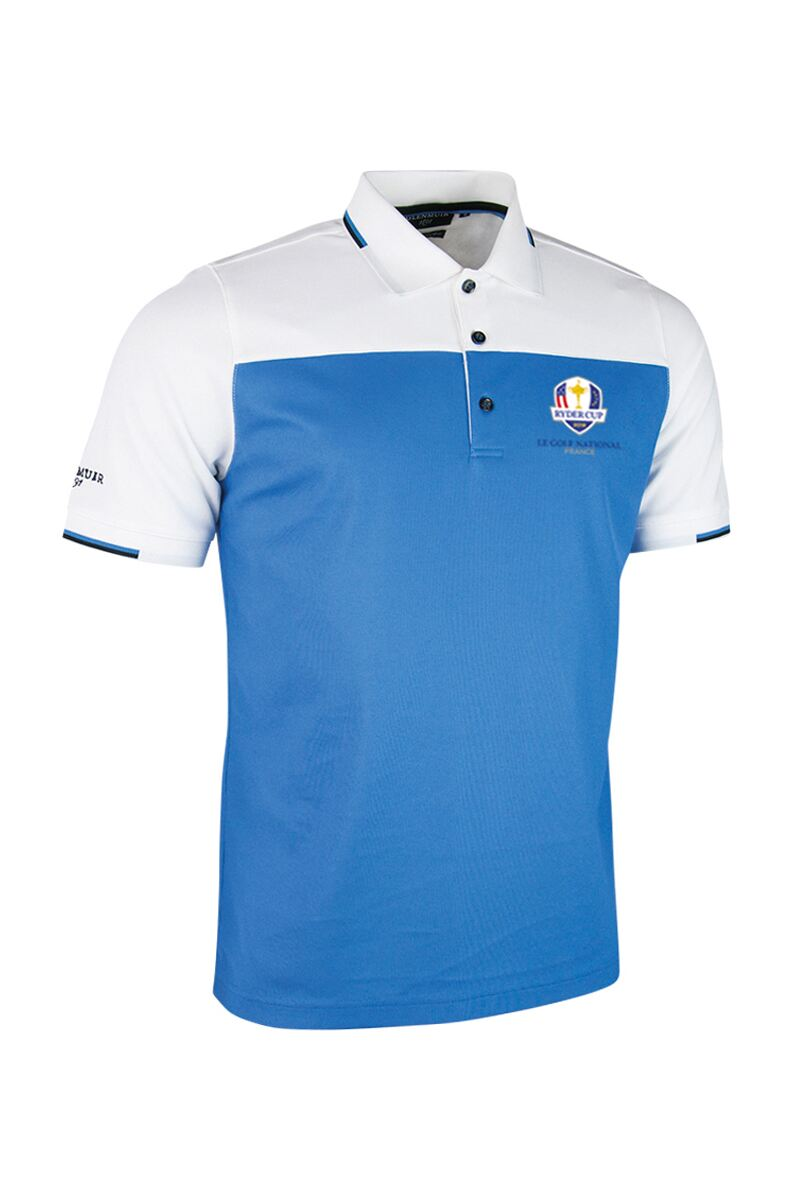 Official Ryder Cup 2018 Mens Colour Block Jacquard Collar and Cuffs Golf Polo Shirt Product Swatch