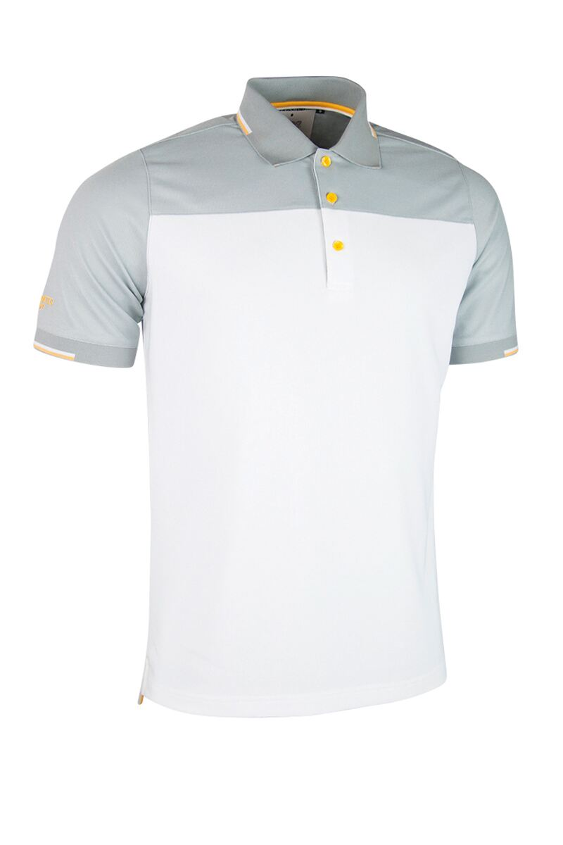 Mens Colour Block Jacquard Collar and Cuffs Performance Pique Golf Polo Shirt - Sale Product Swatch