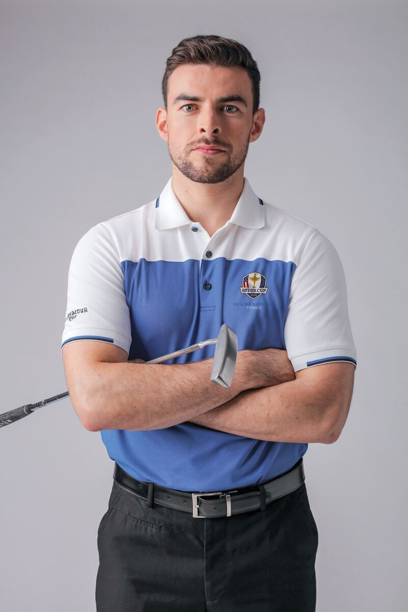 Official Ryder Cup 2018 Mens Colour Block Jacquard Collar and Cuffs Golf Polo Shirt Product Image 1