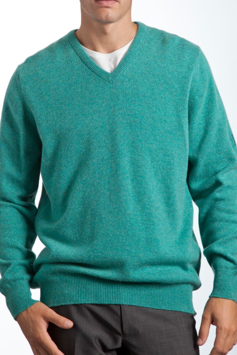 Heritage V Neck 100% Cashmere Sweater Product Image 1