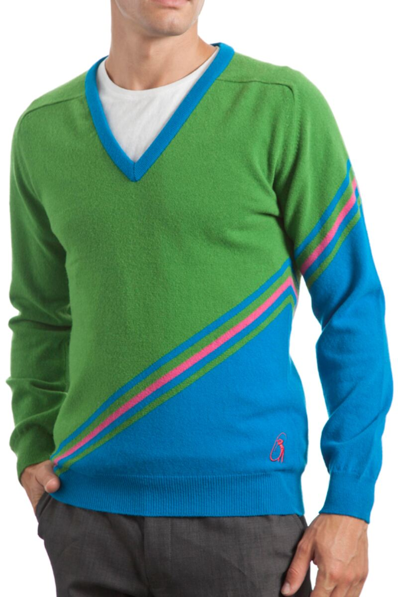 Heritage 100% Extrafine Lambswool Stripe Clash V Neck Fitted Sweater - Sale Product Image 1