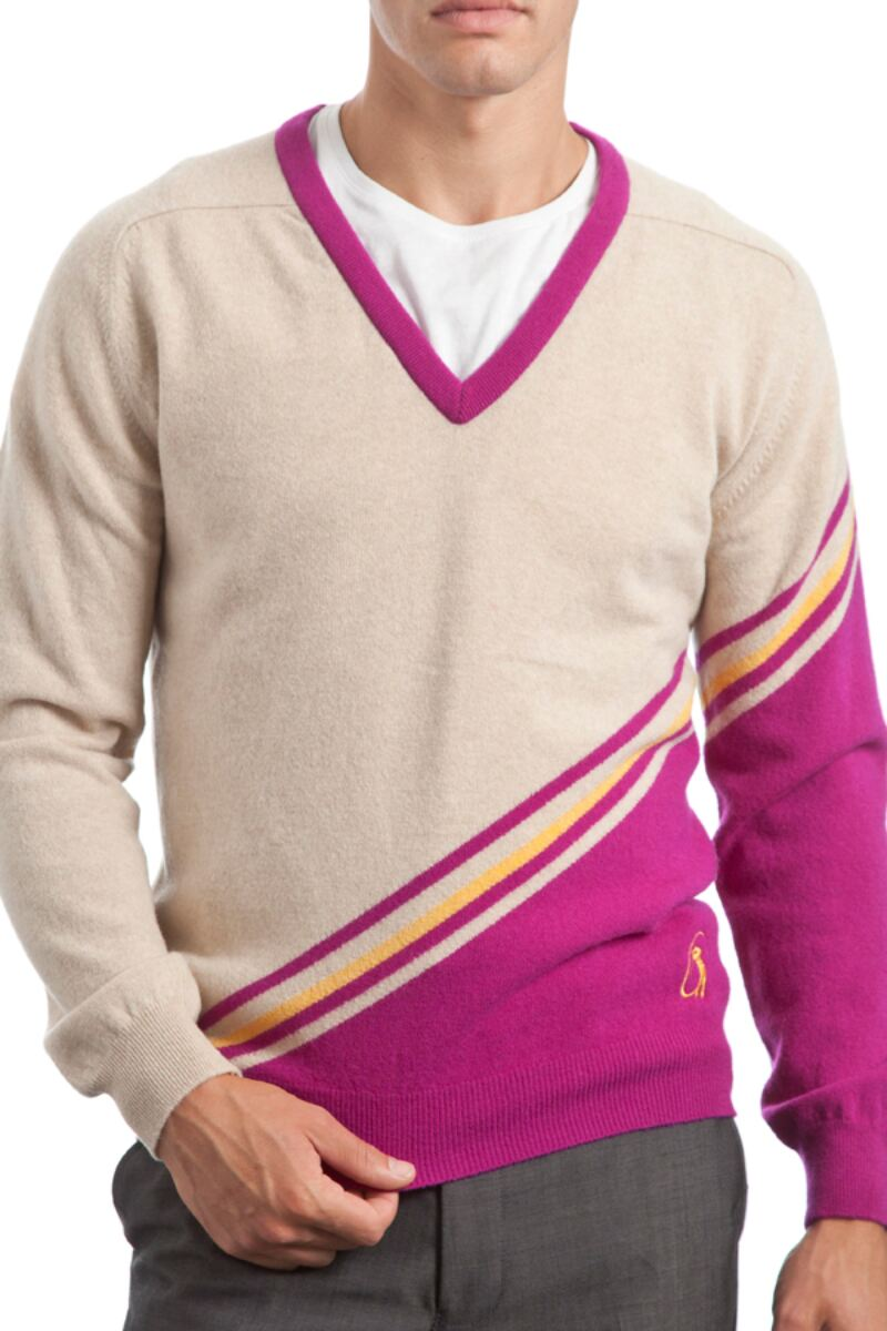 Heritage 100% Extrafine Lambswool Stripe Clash V Neck Fitted Sweater - Sale Product Image 2