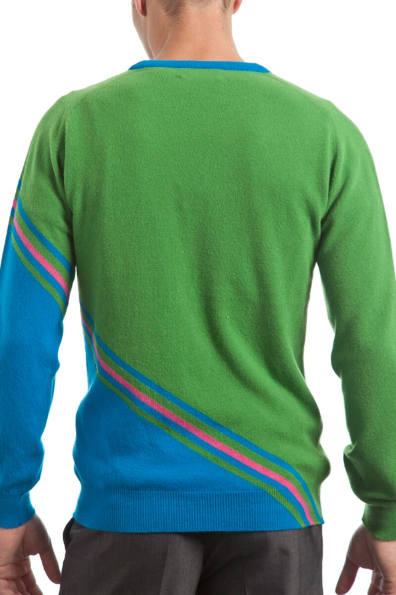 Heritage 100% Extrafine Lambswool Stripe Clash V Neck Fitted Sweater - Sale Product Image 3