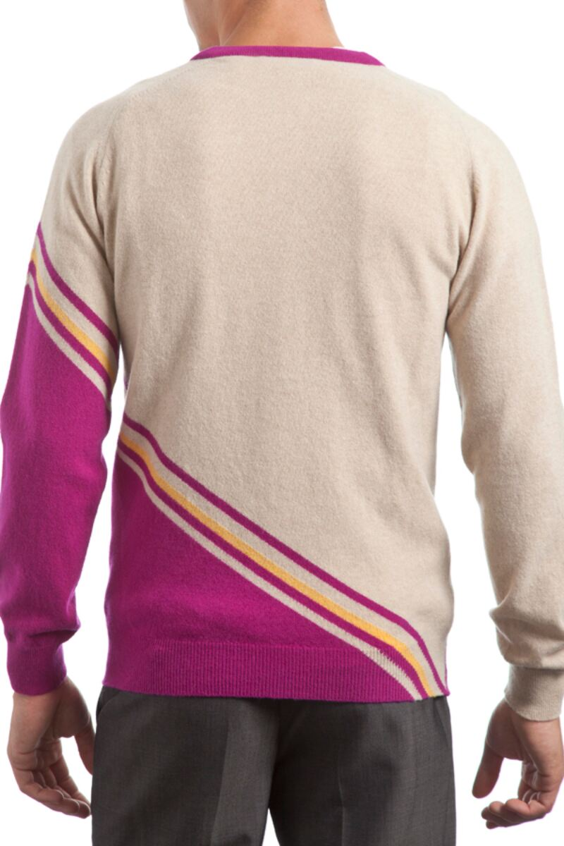 Heritage 100% Extrafine Lambswool Stripe Clash V Neck Fitted Sweater - Sale Product Image 4