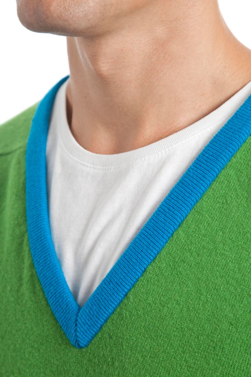 Heritage 100% Extrafine Lambswool Stripe Clash V Neck Fitted Sweater - Sale Product Image 7