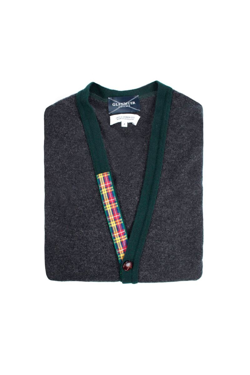 Heritage 100% Lambswool Argyle Arms V Neck Classic Fit Cardigan - Sale Product Swatch