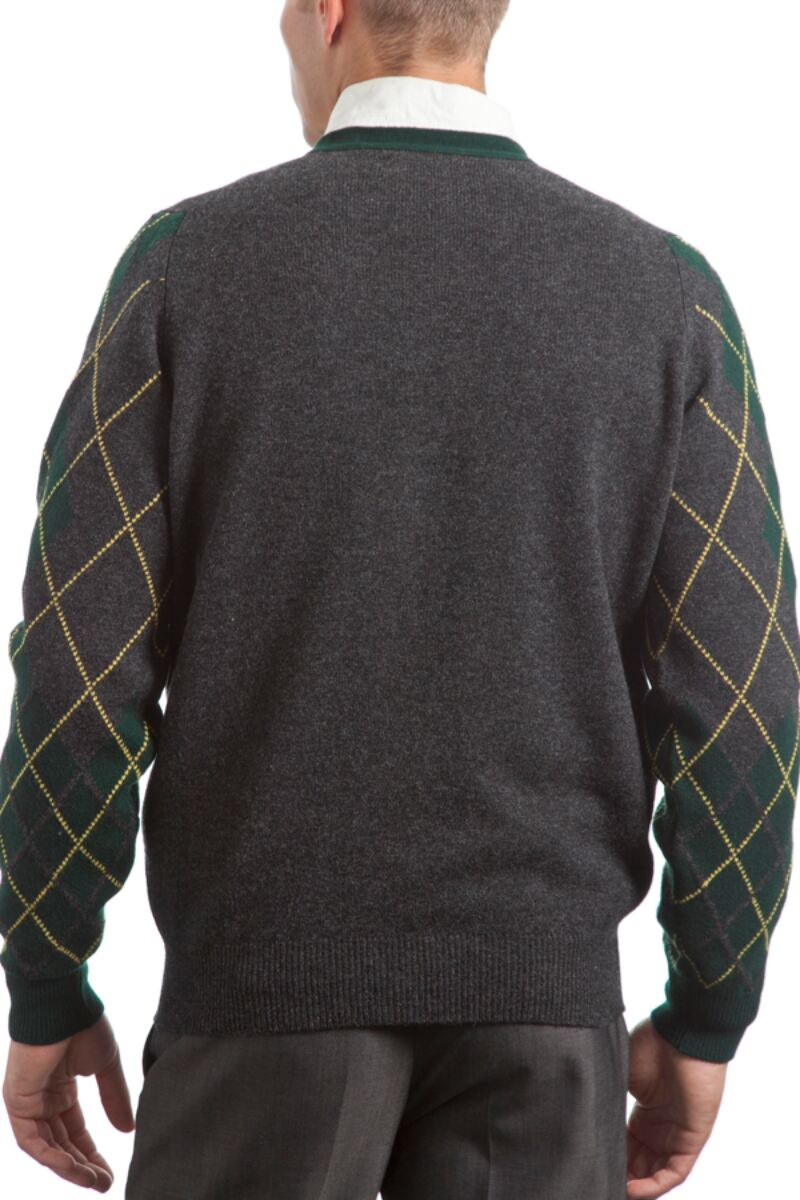 Heritage 100% Lambswool Argyle Arms V Neck Classic Fit Cardigan - Sale Product Image 2