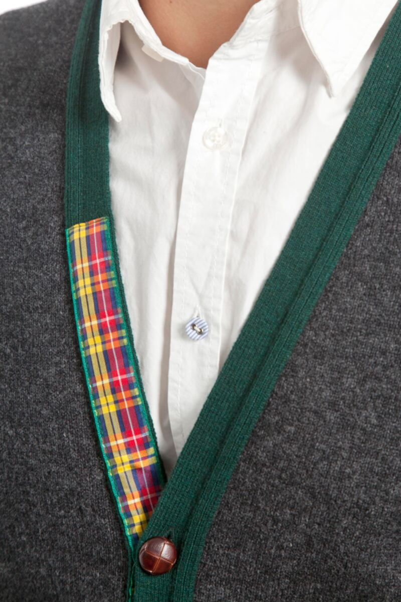 Heritage 100% Lambswool Argyle Arms V Neck Classic Fit Cardigan - Sale Product Image 3
