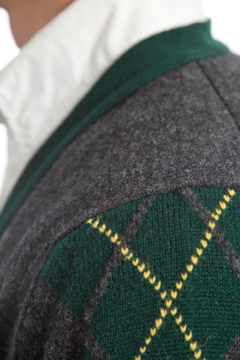 Heritage 100% Lambswool Argyle Arms V Neck Classic Fit Cardigan - Sale Product Image 6