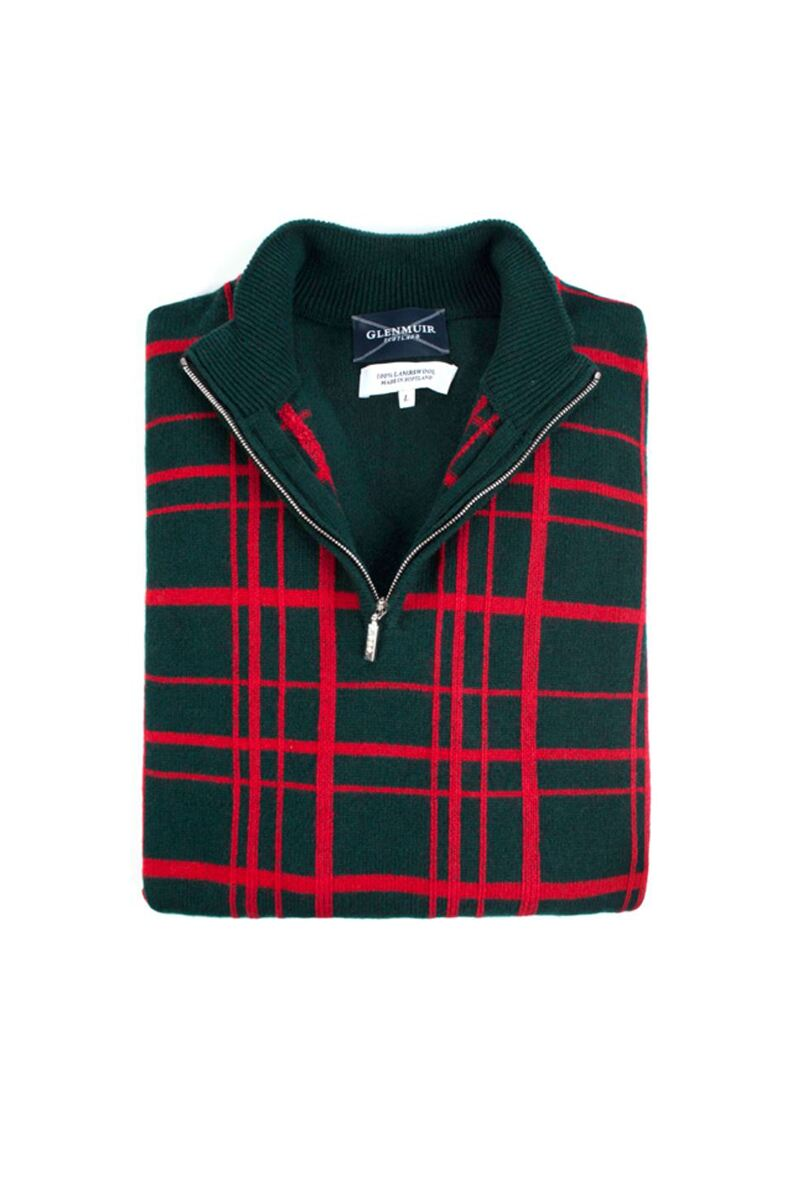 Heritage 100% Lambswool Checkered Grid Zip Neck Classic Fit Sweater - Sale Product Swatch