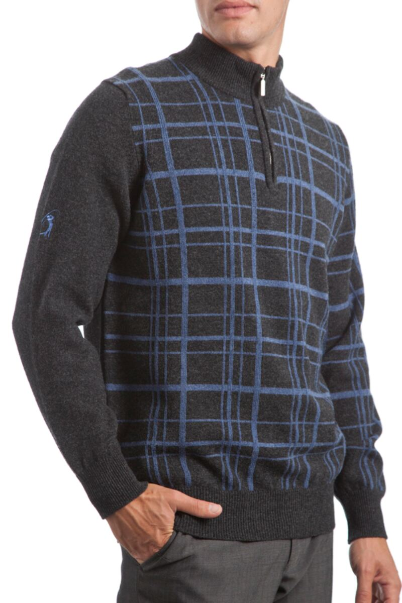 Heritage 100% Lambswool Checkered Grid Zip Neck Classic Fit Sweater - Sale Product Image 2