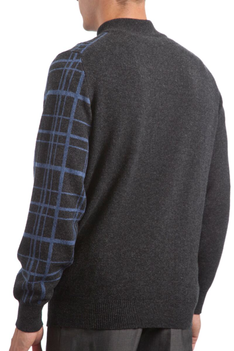 Heritage 100% Lambswool Checkered Grid Zip Neck Classic Fit Sweater - Sale Product Image 4