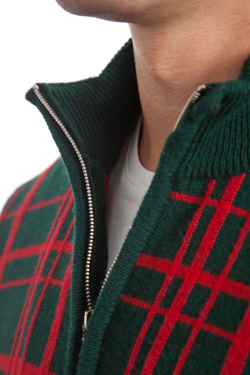Heritage 100% Lambswool Checkered Grid Zip Neck Classic Fit Sweater - Sale Product Image 8