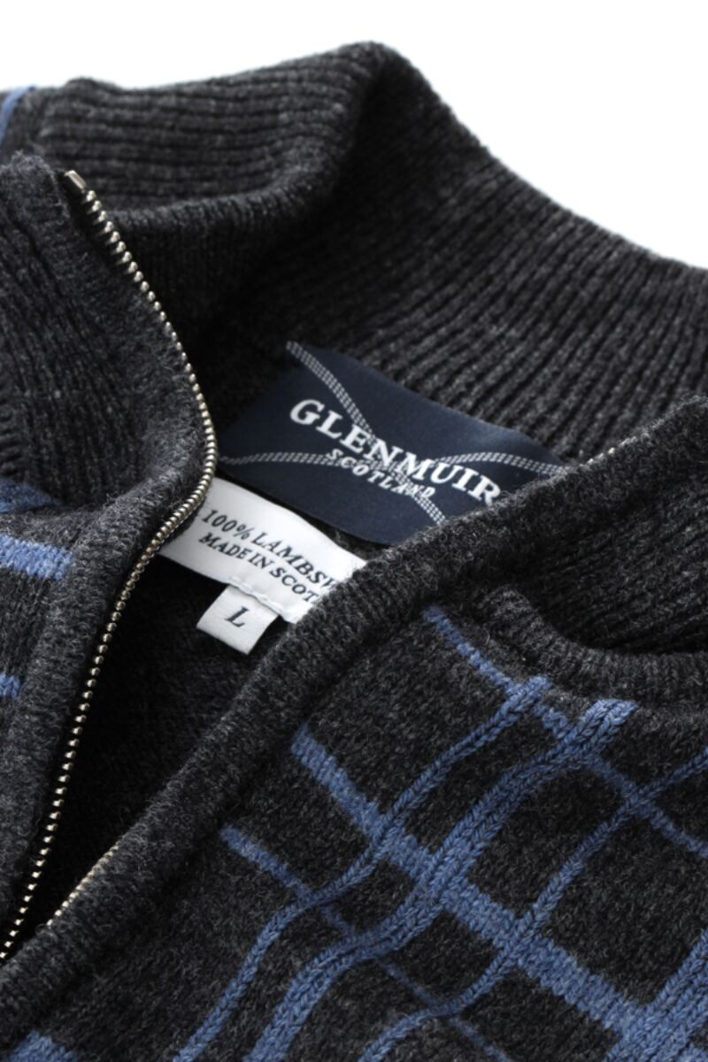 Heritage 100% Lambswool Checkered Grid Zip Neck Classic Fit Sweater - Sale Product Image 9